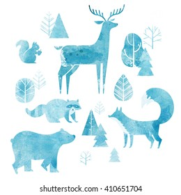 Forest background. Illustration of cute animals: fox, bear, raccoon, deer and squirrel with watercolor texture.