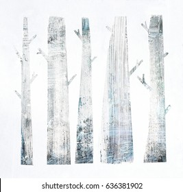 Forest background with simple abstract trees. Grunge texture on paper