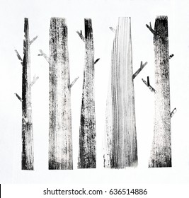 Forest background with simple abstract trees. Ink texture on paper