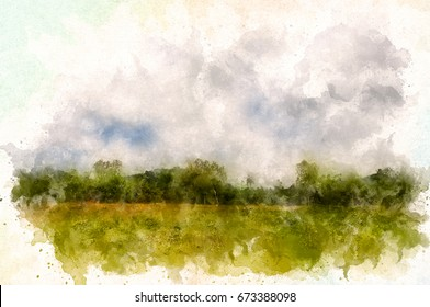 Forest behind field. Aquarelle water paint effect