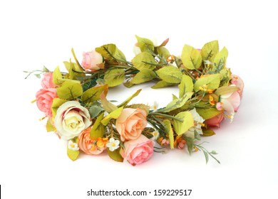 forest coronal or colorful fake flower crown isolated on white background