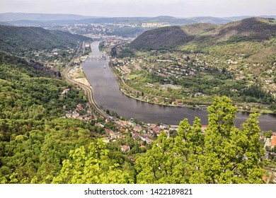 Forest covered valley of river Labe by Usti-nad-Labem city