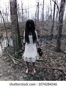 Forest of the darkness,3d illustration of  ghost girl in white dress with a cleaver and teddy bear in hands waiting to kill in the abandoned forest ,Scary background mixed media for book cover