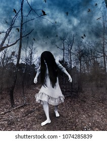 Forest of the darkness,3d illustration of  ghost girl in white dress in the abandoned forest ,Scary background mixed media for book cover,book illustration