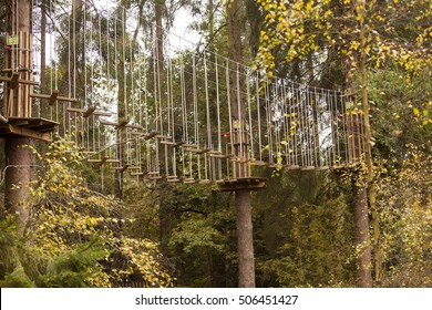 Forest of Dean, United Kingdom - October 27, 2016: Go Ape Adventure. Found in a many of the national parks and local recreation grounds, Go Ape provides a stimulating obstacle course in the trees.