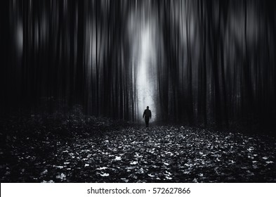 Forest fantasy landscape. Man in spooky forest at night, motion blur effect
