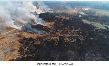 Forest and field fire. Dry grass burns, natural disaster. Aerial view. A large burned field, burning occurs on the banks of a small river. Strong smoke from the burning sites.