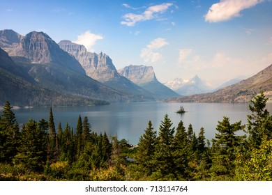 Forest Fire Haze at Saint Mary Lake in Glacier National Park