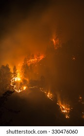 Forest fire at night, Lime Complex fire, Trinity Mountains, Northern California