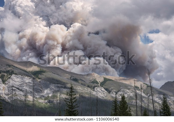 Forest fire smoke in Kootenay National Park, British Columbia, Canada
