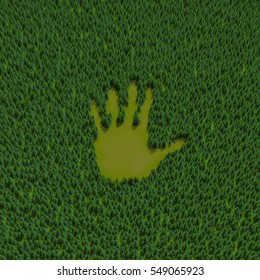 Forest hand print / 3D illustration of hand shaped clearing in coniferous forest