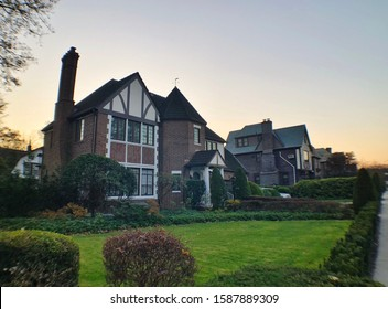 Forest Hills, NY/ USA- 11-25-19: Tudor House on Forest Hill street in Queens New York