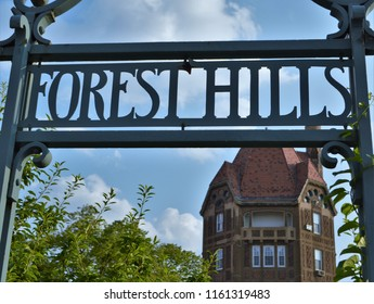 Forest Hills, NY/ USA- 8-15-18: Forest Hills Sign with Dome Building Architecture Background