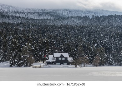 Forest house at a frozen lake with a snow covered forest in the background