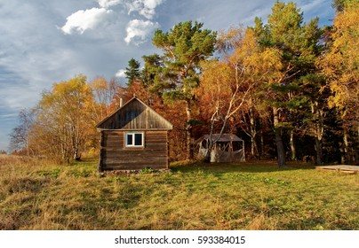 Forest house at sunset. Caucasus. Russia. The Caucasian reserve. Pasture of Abago. Kotov's House