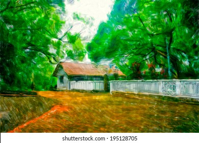 Forest and house,oil painting