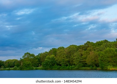 Forest at the lake, at blue sky. Location: Germany, North Rhine-Westphalia, Hoxfeld