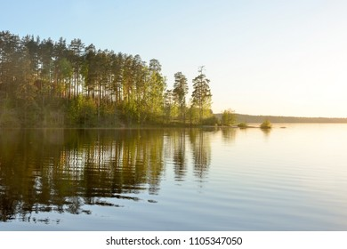 Forest lake with blus sky background. Panoramic picture