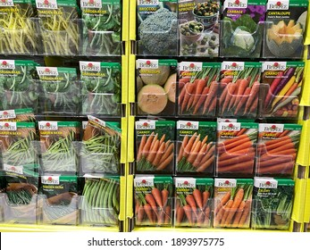 Forest Lake, Minnesota - January 14, 2021: Burpee brand vegetable garden seeds on sale at a Menards store, for the spring planting and gardening season
