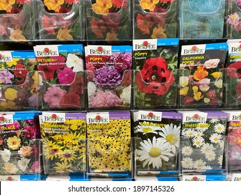 Forest Lake, Minnesota - January 14, 2021: Burpee brand flower seeds on sale at a Menards store, for the spring planting and gardening season
