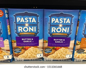 Forest Lake, Minnesota - September 20, 2019: Boxes of Pasta Roni boxed meals on sale, displayed on a grocery store shelf
