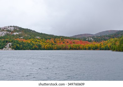 Forest lake in sunny autumn day in Canada