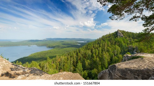 forest landscape with mountain and lake