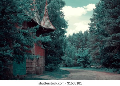 Forest landscape with a road and old arch