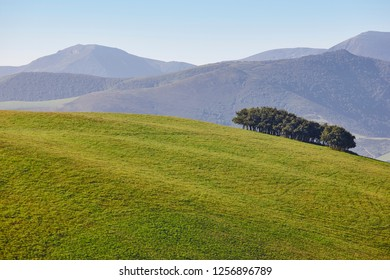 Forest mountain landscape in Asturias. Nature tourism in Spain. Horizontal