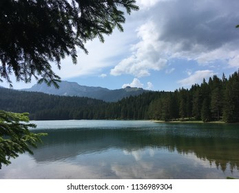 Forest and mountains around Blake lake at National park Durmitor