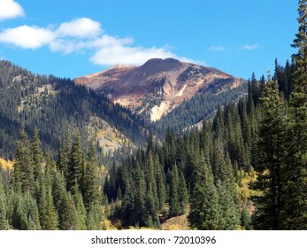 Forest and mountains during Autumn at high elevation in Colorado