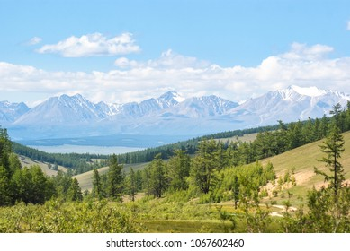 Forest and mountains at Lake Khuvsgul. North of Mongolia