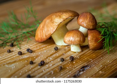 forest mushrooms, boletus, on a wooden table