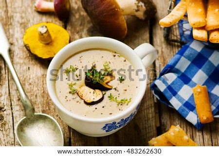 Forest Mushrooms Cream Soup Style Rustic Stock Photo (Edit Now ... 141ea4a7074d
