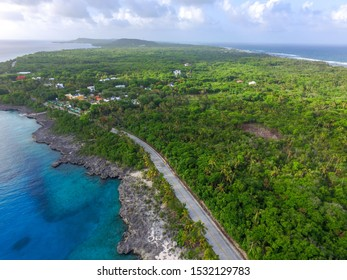 Forest and ocean in san andres island. A caribbean island of colombia.