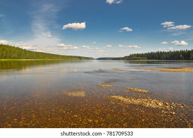 Forest on the banks of the taiga river. National Park Yugid-VA in the Northern Urals. The UNESCO site Virgin Komi forests.