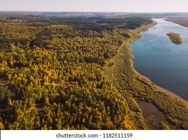 Forest river. Autumn landscape. Taiga forest from aerial view. Vasyugan swamp
