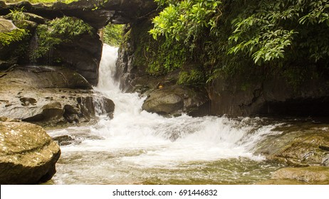Forest river flows through the rock in Khasi Hills, Meghalaya, India