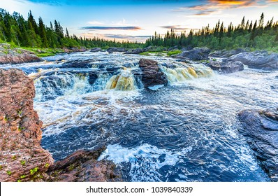 Forest river rapids panoramic landscape