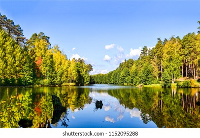 Forest river reflection autumn landscape. Autumn forest river water panorama. Forest river reflection in autumn