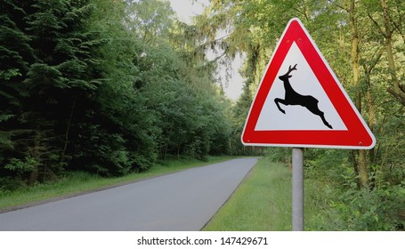 """forest and road signs at roadside """"animal crossing"""""""