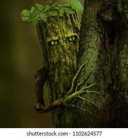 Forest sentinel. Fantasy character as a mossy tree with green eyes and branch hand