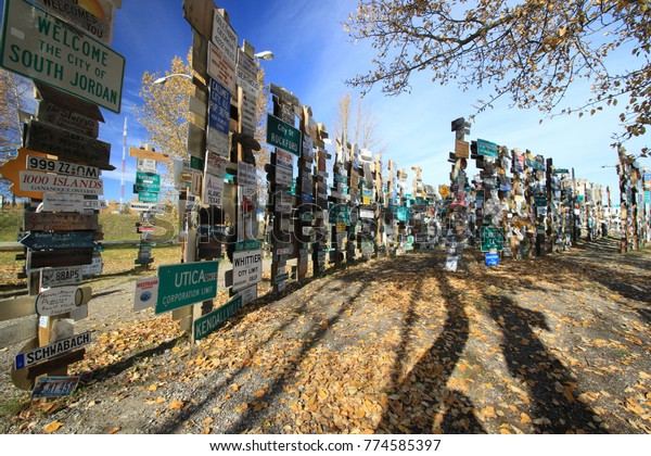 Forest of signs in Watson Lake, Canada