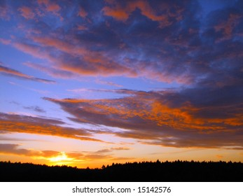 a forest silhouette beneath a dramatic cloudy sky at sunset