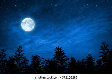 forest in silhouette with starry night sky and full moon , Elements of this image are furnished by nasa
