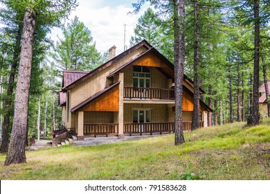 Forest and small house in it in summer day