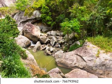 Forest, stream descending the mountains in Petropolis Rio de Janeiro