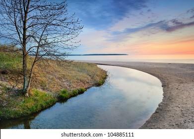 Forest Stream in Springtime near Marquette, Michigan USA