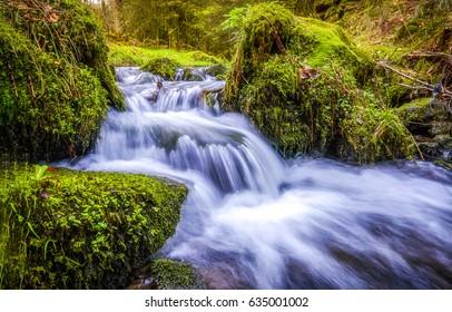 Forest stream waterfall. Waterfall mossy rocks