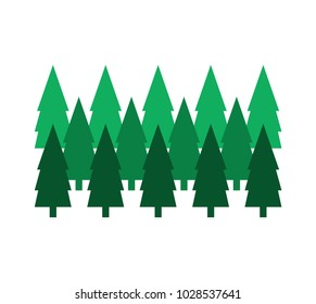 Forest symbol; Isolated trees on white background